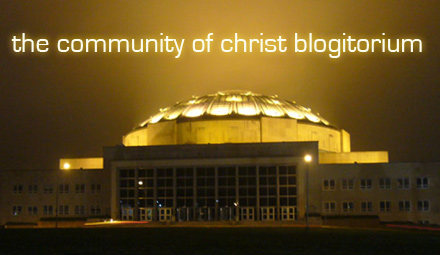 The Community of Christ Auditorium at night